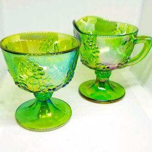 Vintage Green Indiana Carnival Glass Creamer Set